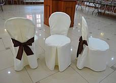 Чехол с Бантом-поясом на круглый стул из прочной лёгкой ткани, фото 2