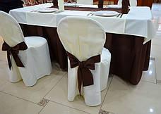 Чохол з Бантом-поясом на круглий стілець з міцної легкої тканини, фото 3