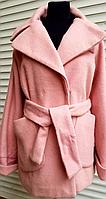 Пальто женское розовое с поясом M, фото 1