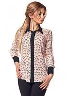 Женская блуза розового цвета с принтом зебры. Модель 409.