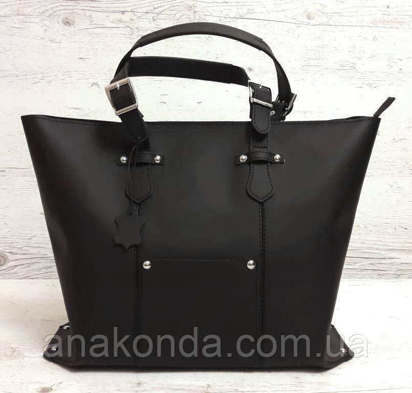 8317b2d5e463 01 Натуральная кожа, Большая сумка женская, черная, ультраматовая, на  молнии: ...