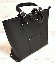 01 Натуральная кожа, Большая сумка женская, черная, ультраматовая, на молнии, фото 2