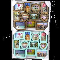 Мультирамка-коллаж с окошками разной формы на 11 фотографий