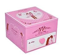 """Шкатулка детская """"Влюбленность"""" розовая, деревянная Размер: 14-15-11 см"""