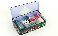 Фишки для покера в металлической коробке IG-1102110. Распродажа!