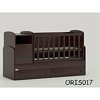 Кроватка-трансформер для новорожденного  Marica Сосна лоредо Венге темный Oris-mebel (ORIS017)