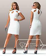 Платье больших размеров  52, 54 белое приталенное  арт 188-4/92
