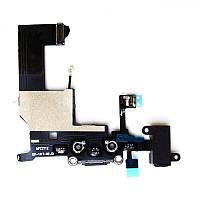 Шлейф для Apple iPhone 5 черный, коннектора зарядки, коннектора наушников и компонентами