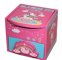 """Шкатулка детская """"Hello Kitty"""" розовая, деревянная Размер: 12-10-11 см"""