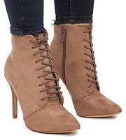 Женские ботильоны коричневые замшевые со шнуровкой