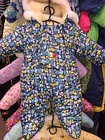"Детский зимний комбинезон ""Человечек"" на овчине синий Зоопарк"