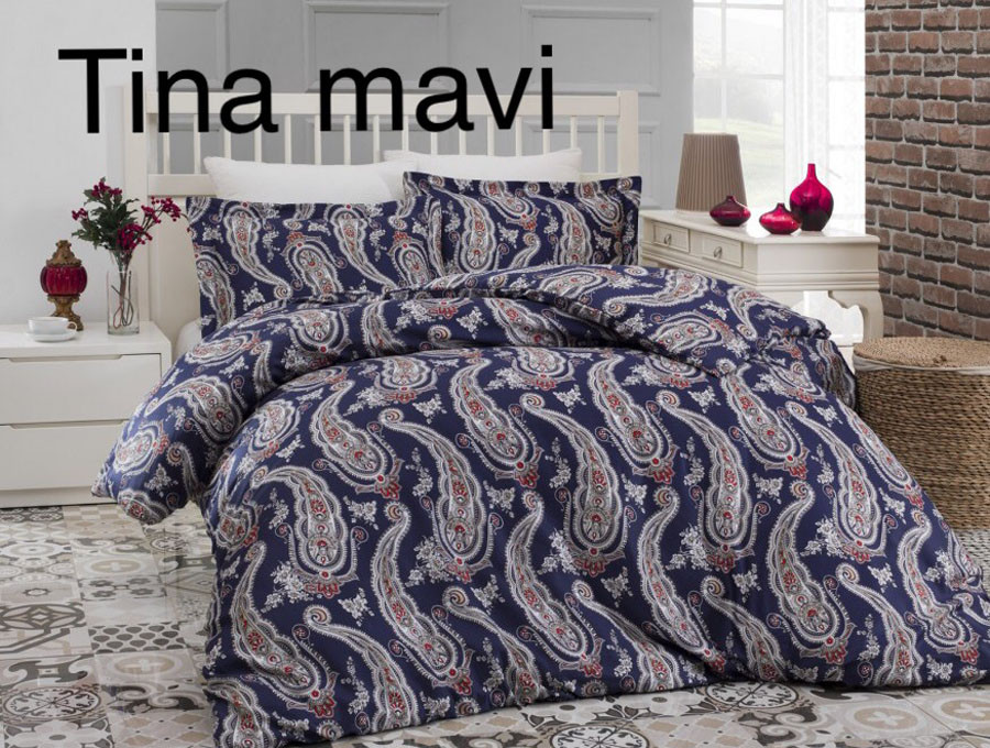 Постельное белье сатин Altinbasak (евро-размер) № Tina Mavi