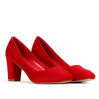 Туфли из искусственного замша, красного цвета на лето