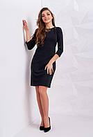 Модное женское платье темно-серого цвета, с кружевом на декольте