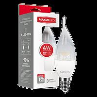 Светодиодная LED лампа MAXUS, 4W, 4100K, 220V, C37 CL-C, E14
