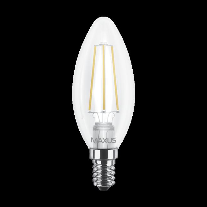 Светодиодная LED лампа MAXUS, 4W, 3000K, 220V, C37 FM-C, E14