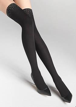 Модные черные ботфорты со стразами ZAKOLANOWKI L23