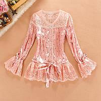 Блузка шелковая с воланами