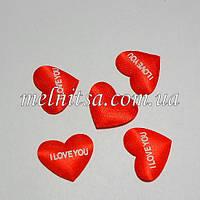 """Атласный декор """"Сердечко I love you"""", 2,2х1,7 см, 5 шт."""