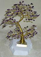 Дерево счастья с мелкими камнями аметиста (17 см)