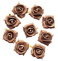 Цветы декоративные Какао (светло-коричневые) розы (розочки) из фоамирана (латекса) 3 см 10 шт/уп
