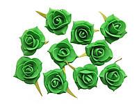 Цветы декоративные Зеленые розы (розочки) из фоамирана (латекса) 3 см 10 шт/уп
