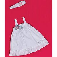 Aziz bebe, платье белое+ повязка для девочки 12-24м