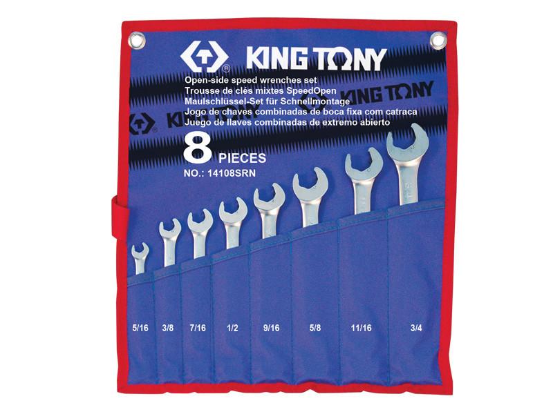 """Набор ключей комби с акселератором дюймовый 8 ед (5/16 - 3/4"""") KING TONY 14108SR (Тайвань)"""
