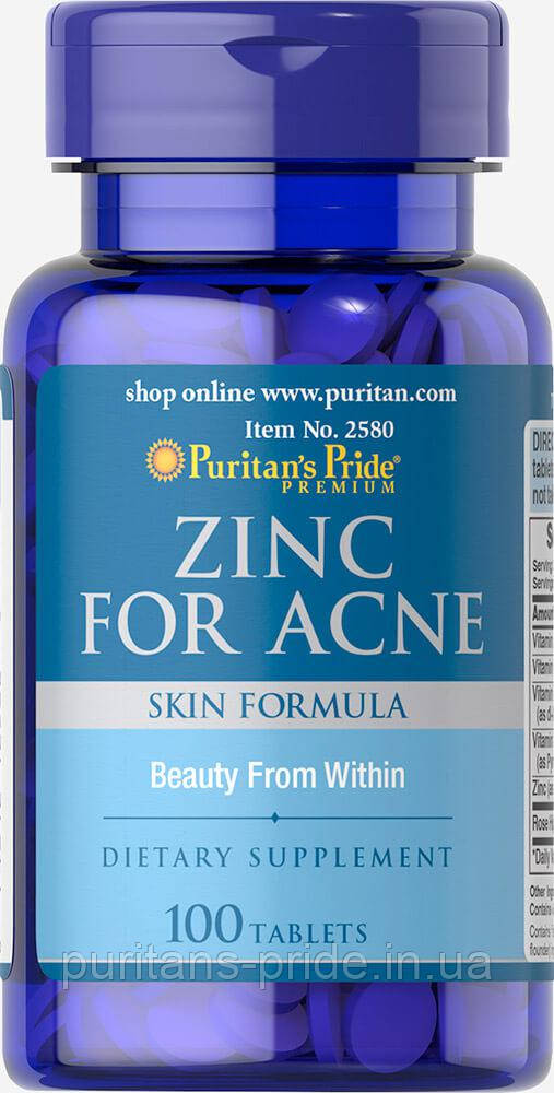 Цинк, Puritan's Pride Zinc for Acne 100 Tablets