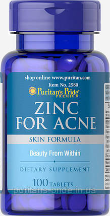 Цинк, Puritan's Pride Zinc for Acne 100 Tablets, фото 2