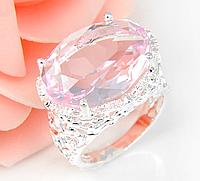 Кольцо женское покрытие серебро с розовым кристаллом код 1358 р 17 18 19