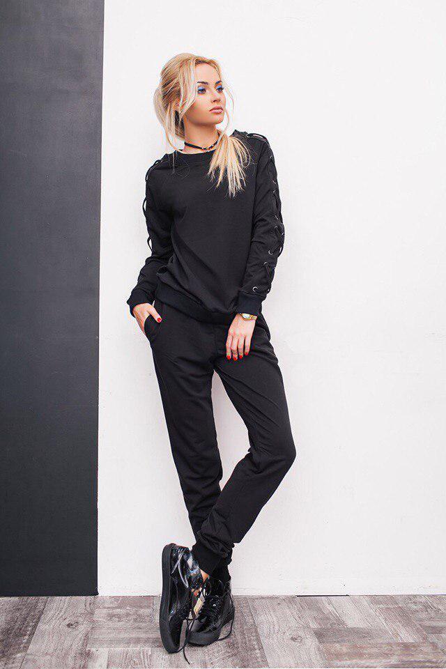 12318715 Модный трикотажный спортивный костюм женский со шнуровкой на рукавах черный  -