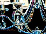 Хромированная классическая люстра с красивыми абажурами 8903/6, фото 3