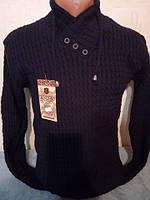 Стильный молодежный свитер с пуговицами темно-синий