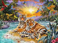 Алмазная вышивка 5D, Тигры в тропиках, полная выкладка 30*20