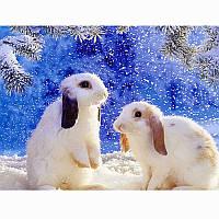 Алмазная вышивка 5D, Кролики, полная выкладка 30*20