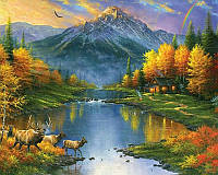 Алмазная вышивка 5D, Осенний пейзаж, полная выкладка 30*20