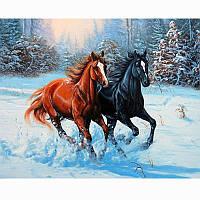 Алмазная вышивка 5D, Бегущие лошади, полная выкладка 30*20