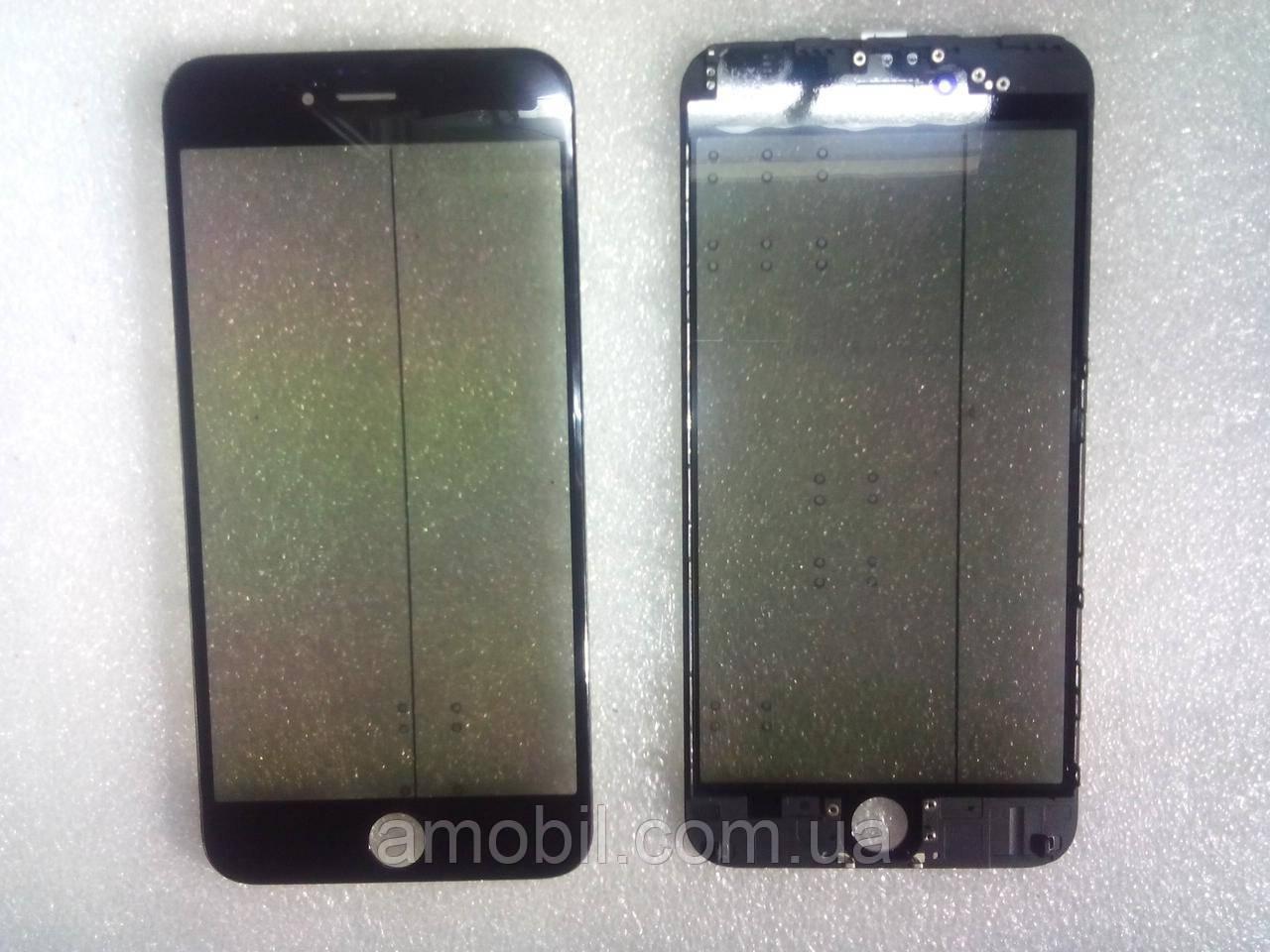 Стекло с дисплейной рамкой , OCA плёнкой и поляризационной плёнкой для iPhone 6 Plus чёрное orig качество