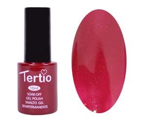 Гель лак Tertio 092, темно красный с розовым микроблеском, 10мл