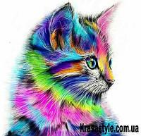 """Алмазная вышивка 5D """"Цветной котенок"""""""