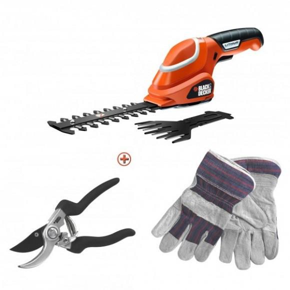 Аккумуляторные универсальные садовые ножницы-кусторез BLACK+DECKER GSL700KIT (США/Китай)