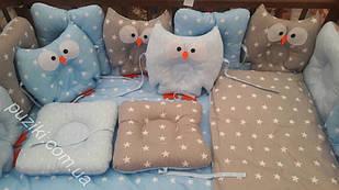 Комплект детского постельного белья 6 в 1 Совы с принтом звездочки