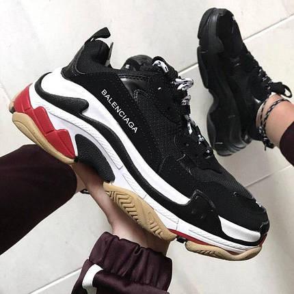 Женские кроссовки Balenciaga Triple S Black/White/Red, фото 2