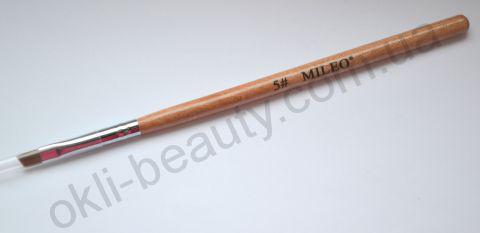 Кисть для геля скошенная  Mileo №5 (для бровей, искусственная)