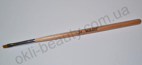 Кисть для геля скошенная Mileo №2 (искусственная)