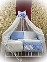 Комплект детского постельного белья 8 в 1 синего цвета с вышивкой Принц