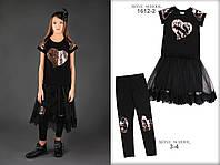 Школьная форма ТМ МОНЕ 2018 г, черное платье с пайетками р-ры 140