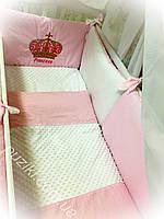 Комплект детского постельного белья 8 в 1 розового цвета с вышивкой Принцесса
