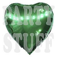 Воздушный фольгированный шар Сердце зеленое, 44 см